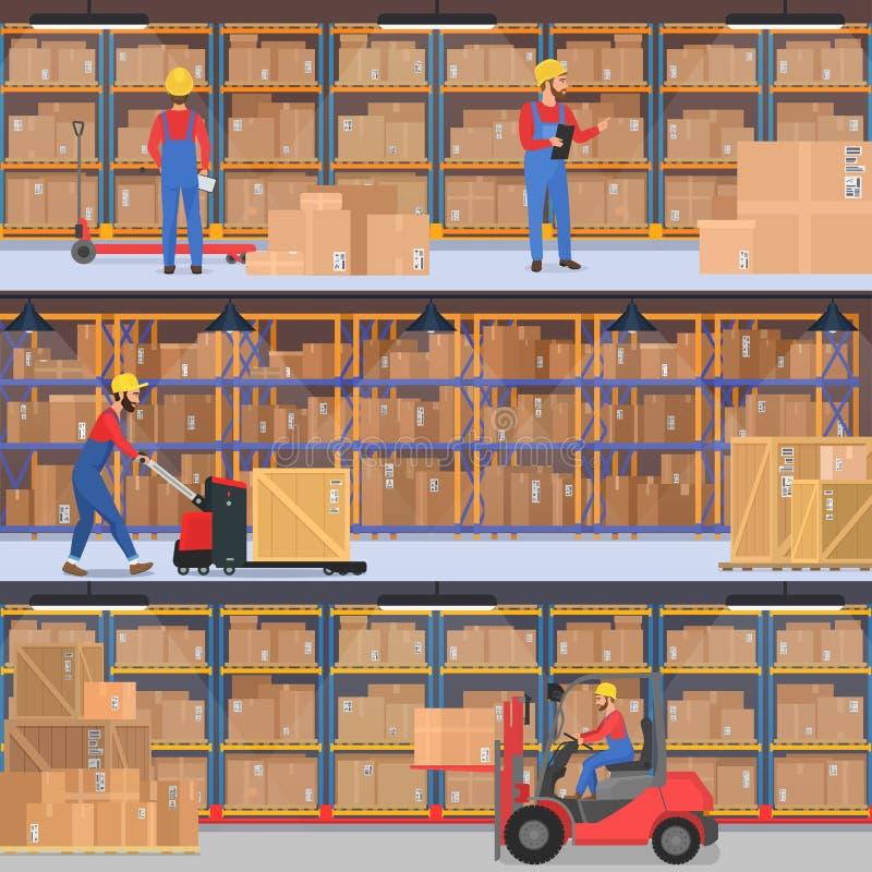 Dostawa, magazyn, frachtowy transport firmy wnętrze Magazyn lub pracownicy fabryczni z obciążeniowym wyposażeniem ilustracja wektor