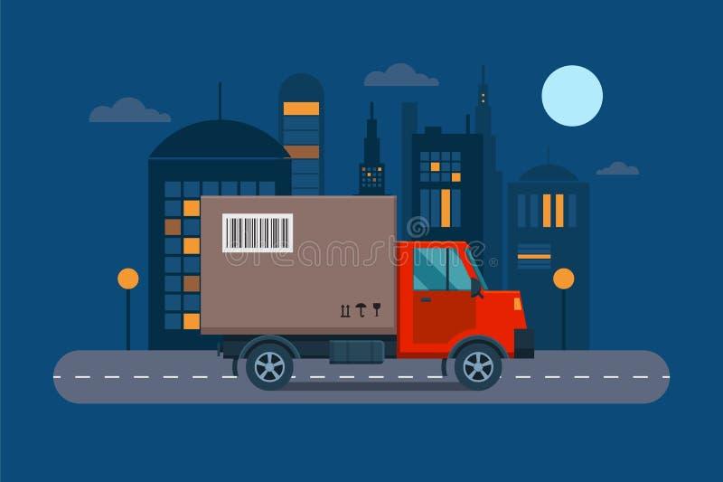 Dostawa przewiezionego ładunku logistycznie wektorowa ilustracja ilustracja wektor