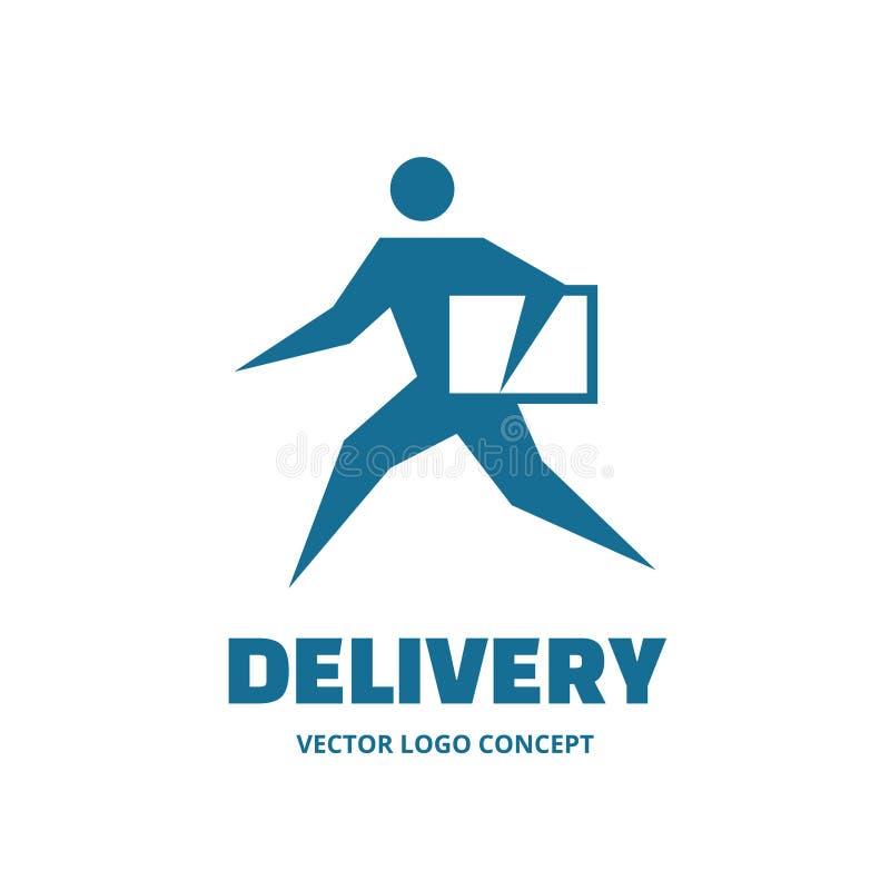 Dostawa - wektorowy loga szablonu pojęcie Działający Mężczyzna ludzie znaków Ludzka charakter ilustracja elementy projektu podobi ilustracji
