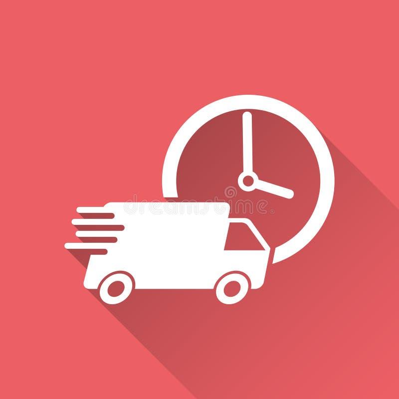 Dostawy 24h ciężarówka z zegarową wektorową ilustracją 24 godziny poścą doręczeniowej usługa wysyłki ikona royalty ilustracja
