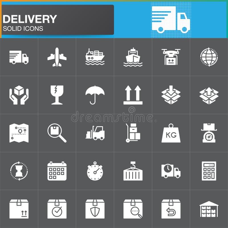 Dostawy i logistyk wektorowe ikony ustawiać, nowożytna stała symbol kolekcja, wypełniająca biała piktogram paczka Znaki, logo ilu ilustracji