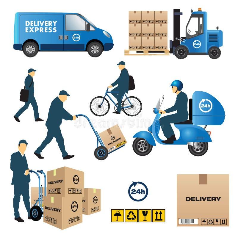 Dostawy i transportu ikony ilustracji