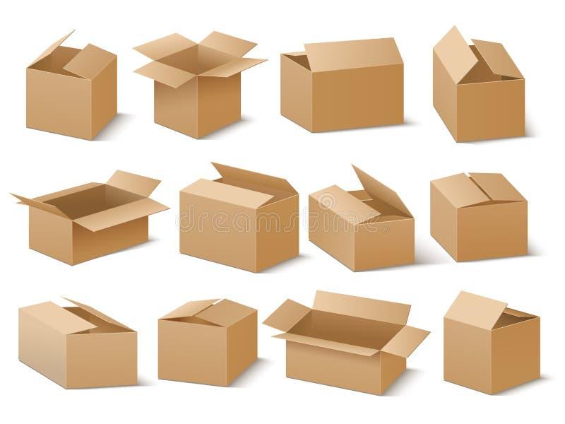 Dostawy i wysyłki kartonu pakunek Brown kartonów wektoru set royalty ilustracja