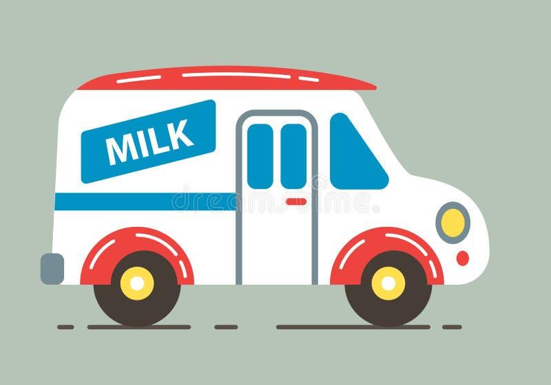 Dostawy mleka ciężarówki wektoru ilustracja ilustracji