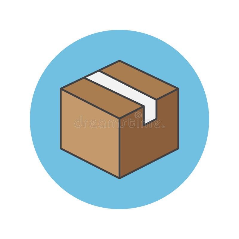 Dostawy pudełka cienka kreskowa ikona, pakunek wypełniał konturu wektoru loga royalty ilustracja