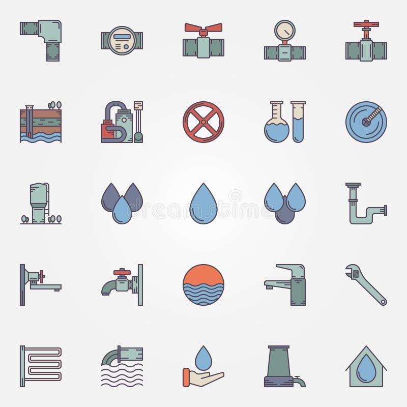 Dostawy wody mieszkania ikony royalty ilustracja