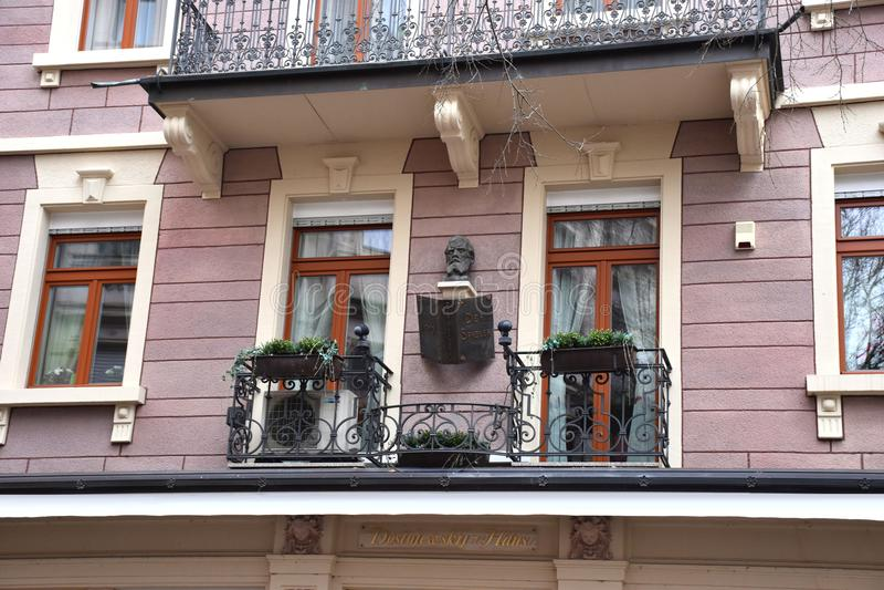 Dostoevsky-Haus in Baden Baden, in dem er dem Roman den Spieler schrieb lizenzfreies stockfoto