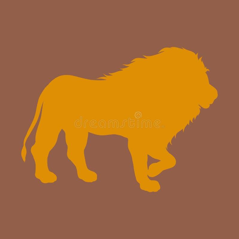 Dostojny młody lew z luksusową grzywą, pomarańczowa sylwetka royalty ilustracja