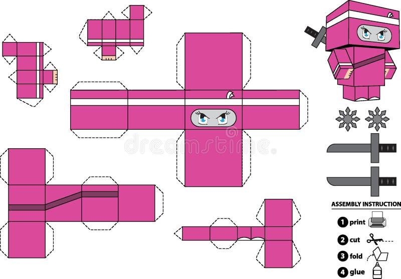 Dostosowana Ninja Papieru Zabawka ilustracja wektor