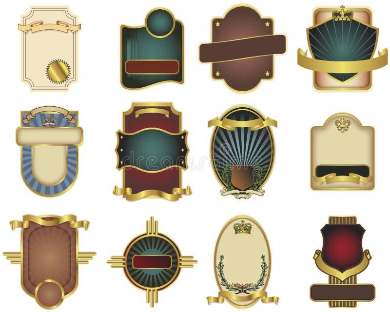 dostosowany etykietki szablonów dwanaście wektor ilustracji
