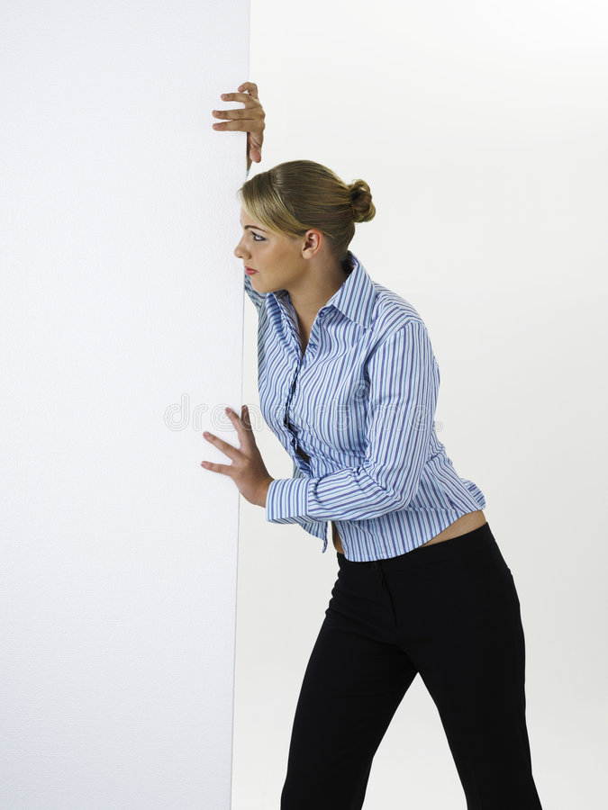 dosunięcie kartonowa kobieta zdjęcia stock