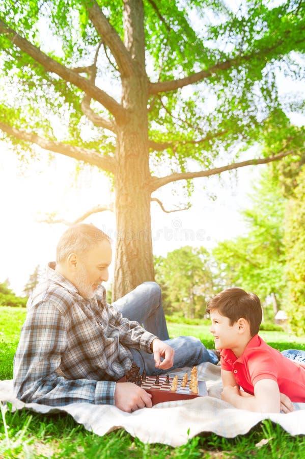 Dosyć życzliwa rodzina bawić się szachy w parku zdjęcia royalty free