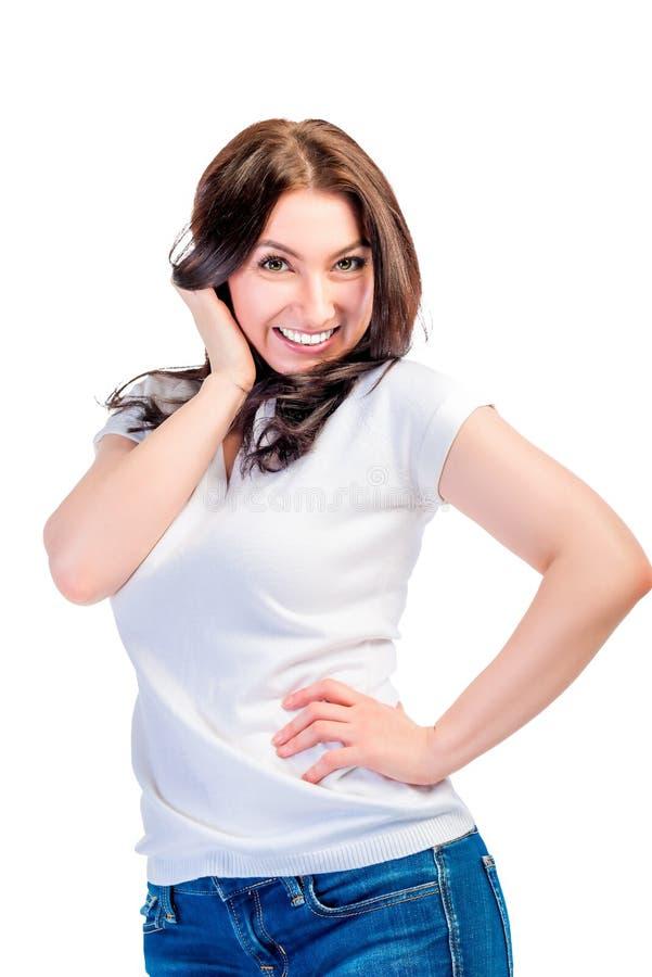 Dosyć atrakcyjna brunetka w białej koszulce obraz royalty free