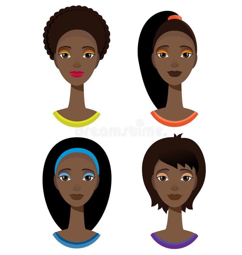 Dosyć elegancka amerykanin afrykańskiego pochodzenia kobieta z różnym ostrzyżeniem ilustracji