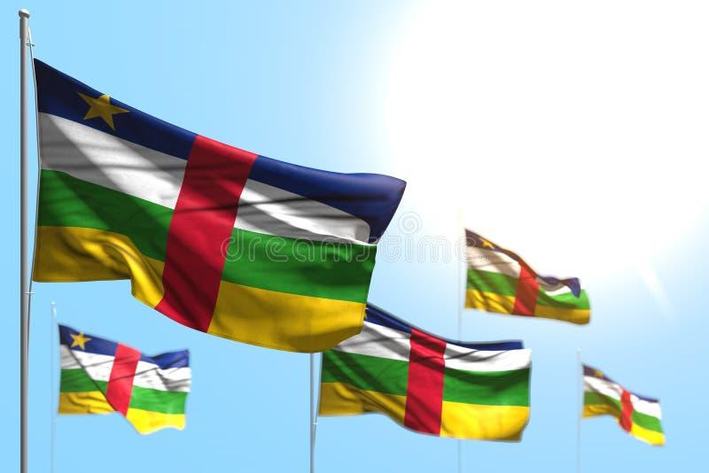 Dosyć 5 flag Środkowo-afrykański republika są falowi przeciw niebieskie niebo fotografii z miękką ostrością - jakaś wakacje flagi royalty ilustracja