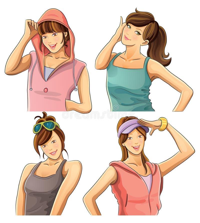 dosyć inkasowe dziewczyny ilustracji
