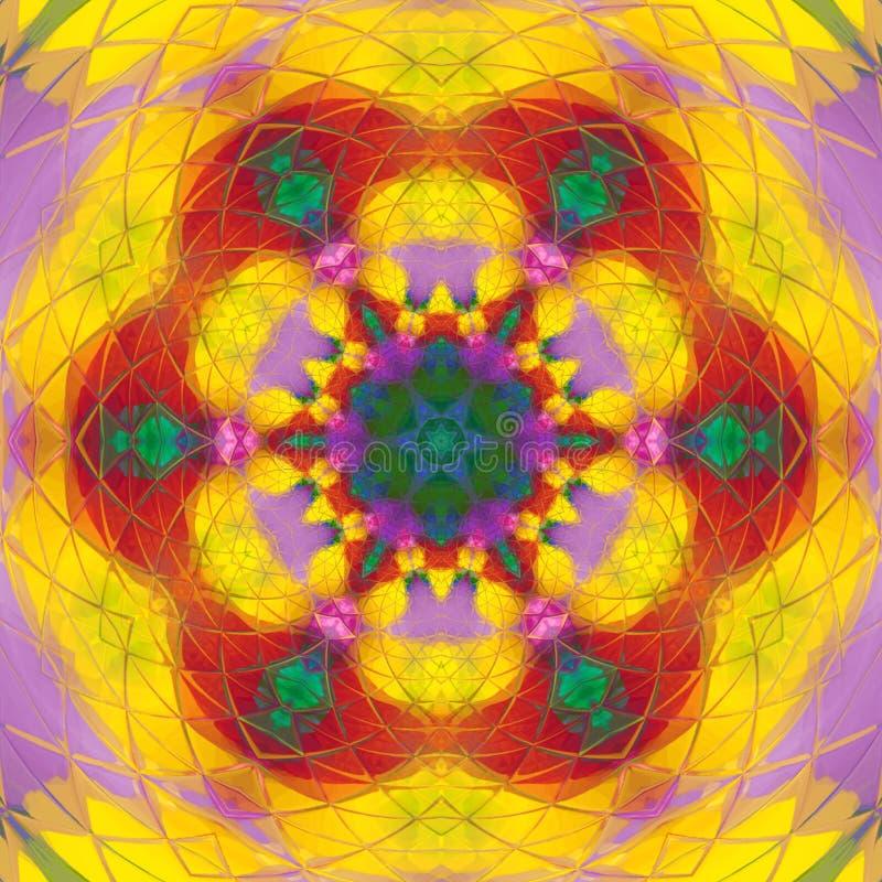 Dosyć jarmarczny kolor żółty płytki mandala arabesk fotografia stock