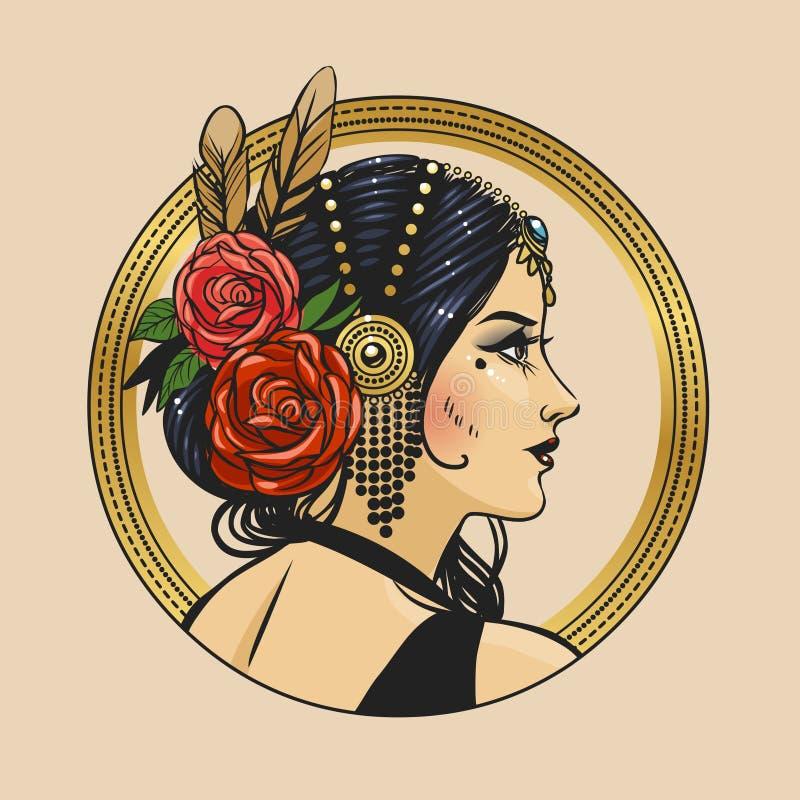 Dosyć plemienny tancerz w pięknym headpiece Wektorowa ręka rysująca ilustracja ilustracji