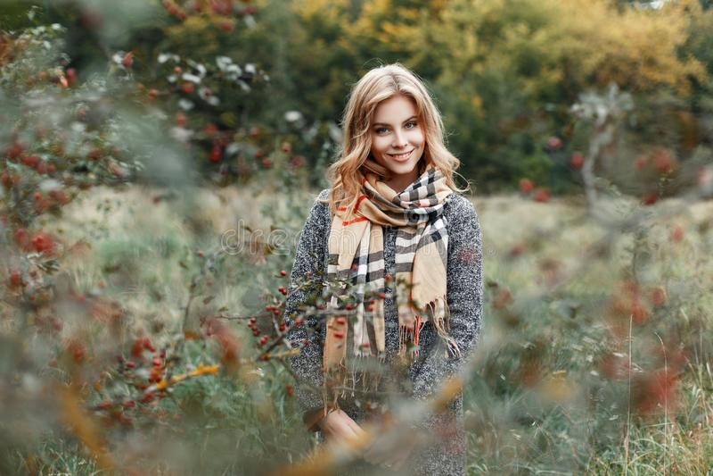 Dosyć szczęśliwa młoda kobieta z niebieskimi oczami z pięknym uśmiechem w eleganckim grże żakiet w rocznika w kratkę szaliku obraz stock