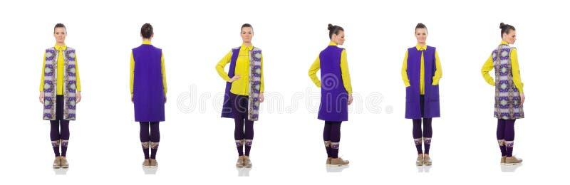 Dosy? caucasian model w purpury kamizelce odizolowywaj?cej na bielu zdjęcie royalty free