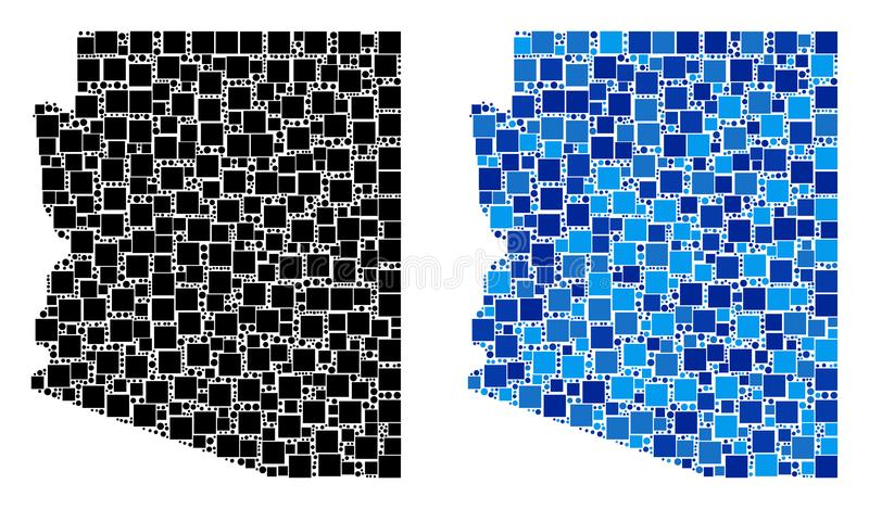 Dot Arizona State Map avec la variante bleue illustration libre de droits