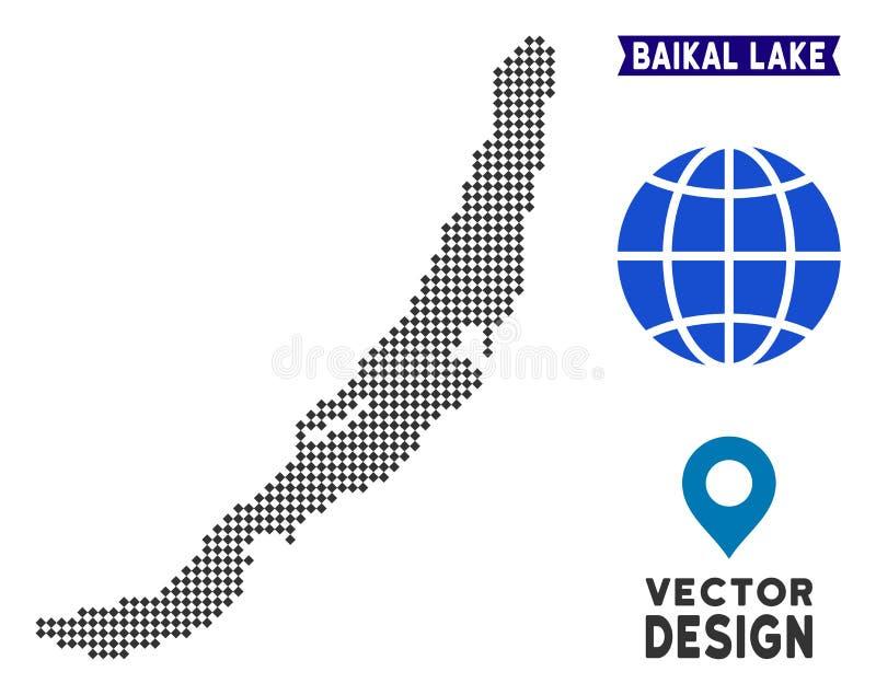 Dotted Baikal Lake Map. Dot Baikal Lake map. Vector geographic plan in dark gray color. Pixels have rhombus form vector illustration