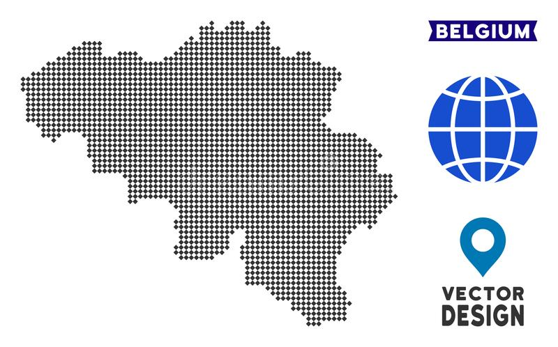 Dot Belgium-kaart stock illustratie