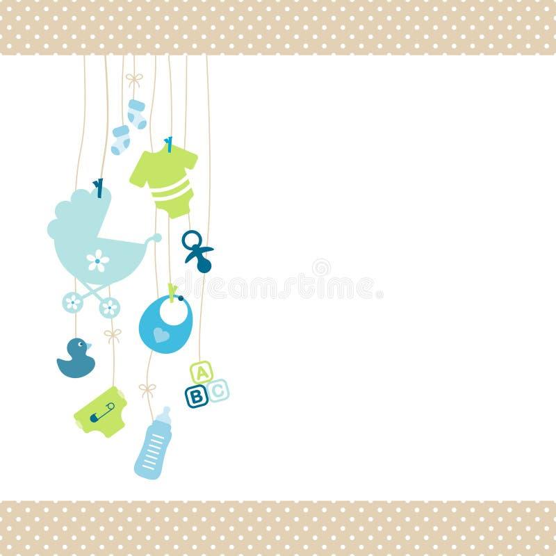 Dot Border Beige azul e verde do menino de suspensão esquerdo dos ícones do bebê ilustração royalty free