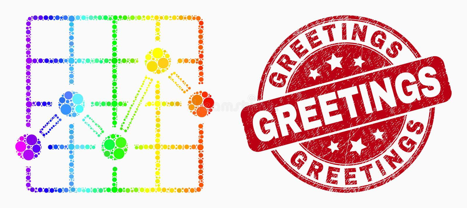 Vector Spectral Dot Chart Grid Icon and Grunge Greetings Stamp. Dot bright spectral chart grid mosaic pictogram and Greetings seal stamp. Red vector rounded royalty free illustration