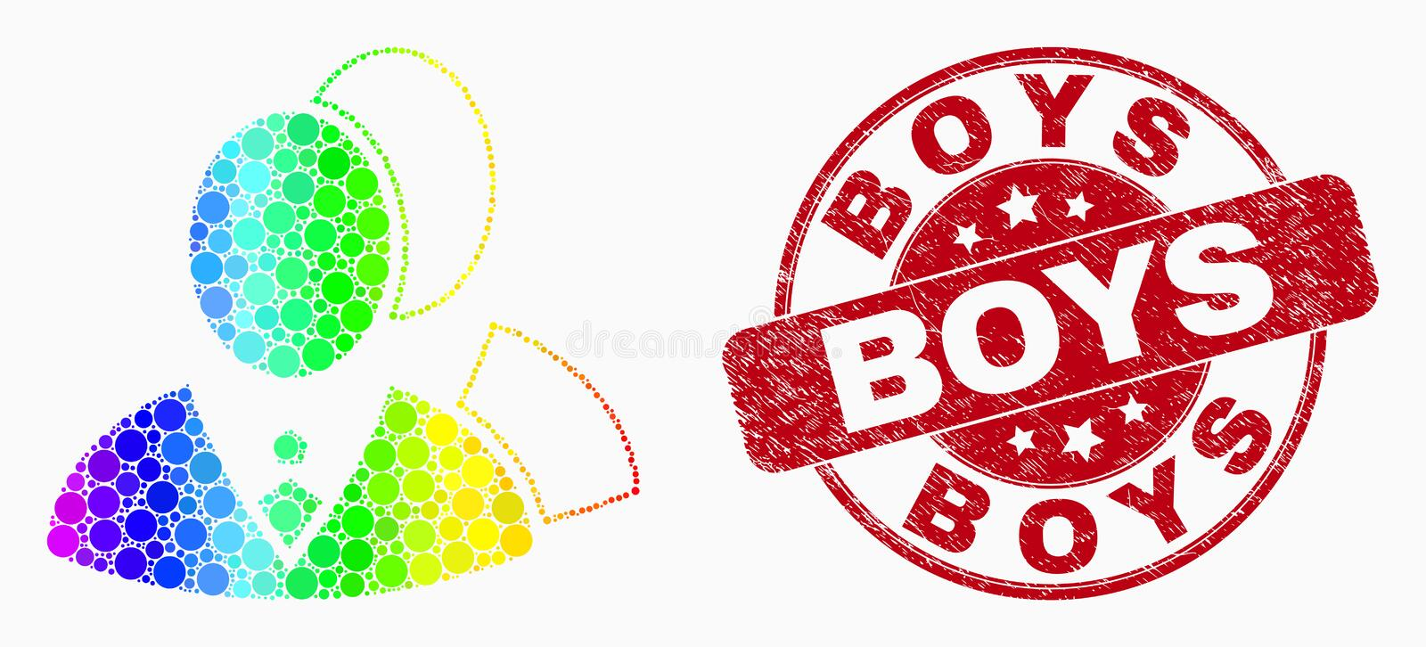Vector Rainbow Colored Dot Managers Icon and Grunge Boys Stamp. Dot bright spectral managers mosaic pictogram and Boys seal stamp. Red vector rounded grunge seal stock illustration
