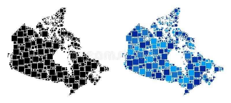 Dot Canada Map met Blauwe Variant royalty-vrije illustratie