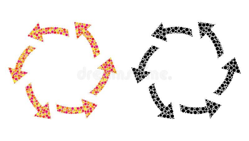 Dot Centrifugal Arrows Mosaic Icons royaltyfri illustrationer