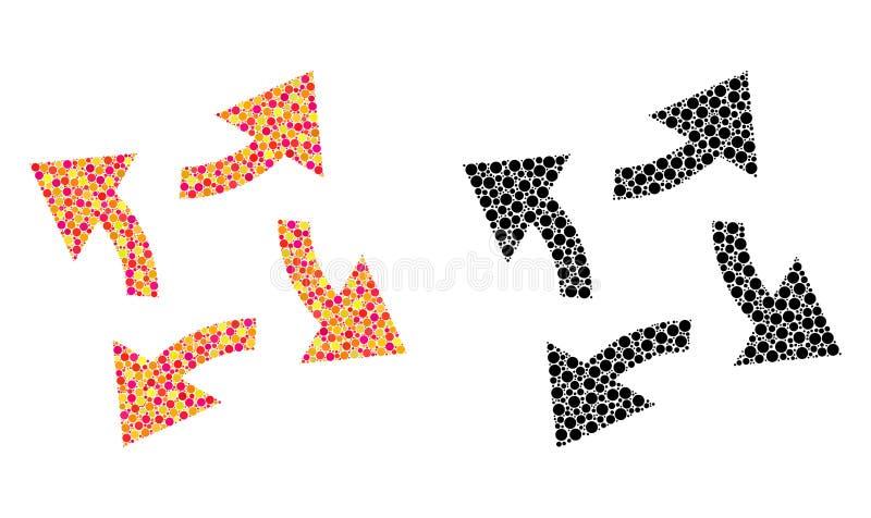 Dot Centrifugal Arrows Mosaic Icons vektor illustrationer
