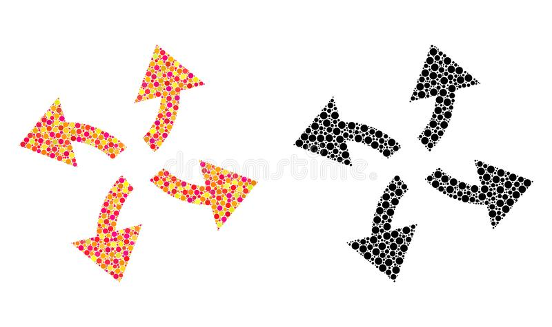 Dot Centrifugal Arrows Mosaic Icons stock illustrationer