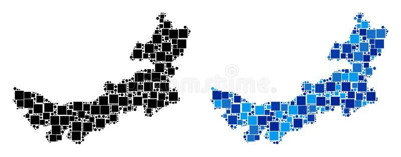 Dot Chinese Inner Mongolia Map avec la version bleue illustration de vecteur