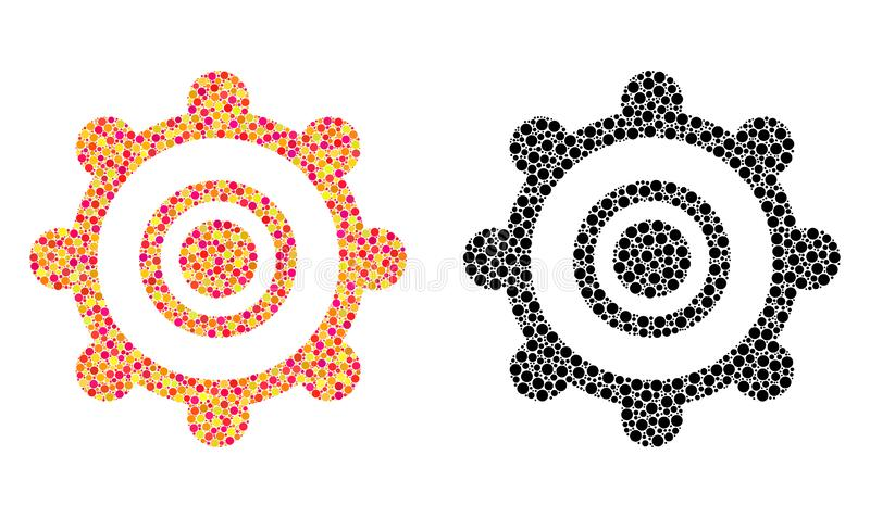 Dot Cog Wheel Mosaic Icons stock abbildung