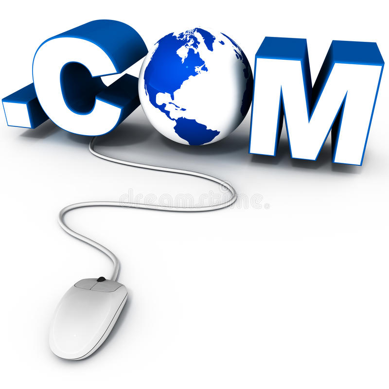 Dot com. Global dot com address concept, with o made up of earth model and mouse connecting to the extension word in blue, white background stock illustration