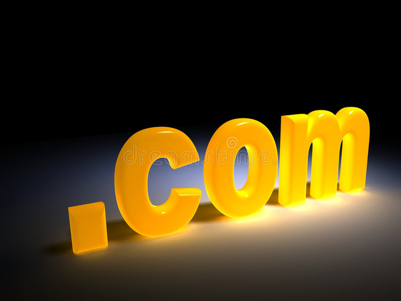 Dot com. Web concept - yellow light .com text - rendered in 3d stock illustration