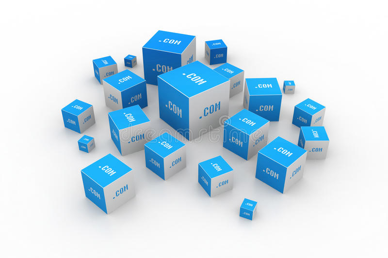 Dot com domain in cubes. In white background royalty free illustration