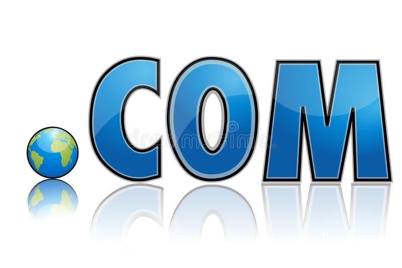 Dot com with globe. Illustration of dot com with globe in place of dot stock illustration
