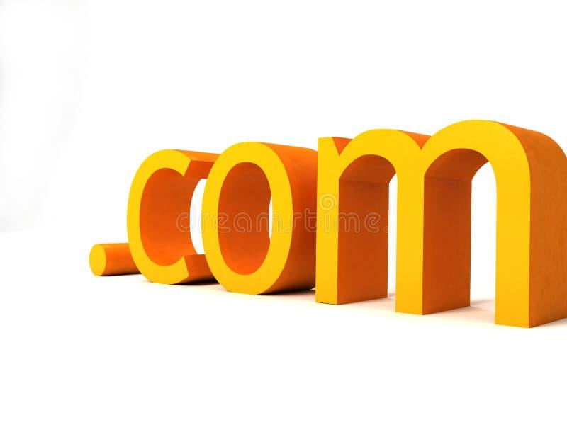 Dot com text. Three dimensional dot com text royalty free illustration