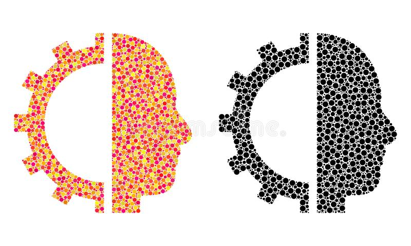Dot Cyborg Gear Mosaic Icons illustration libre de droits