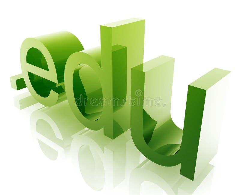 Dot edu internet. Internet dot edu word graphic, with metal chrome style stock illustration