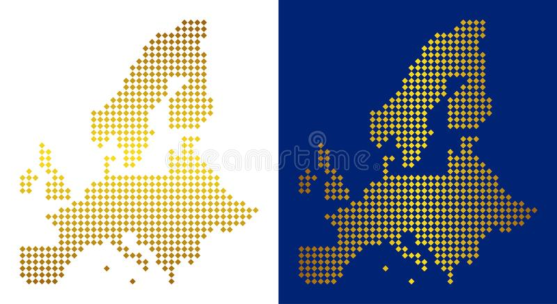 Dot European Union Map d'or illustration stock