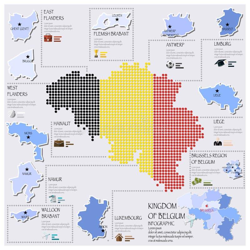 Dot And Flag Map Of Belgien Infographic design royaltyfri illustrationer
