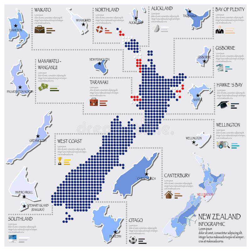 Dot And Flag Map Of nyazeeländsk Infographic design royaltyfri illustrationer