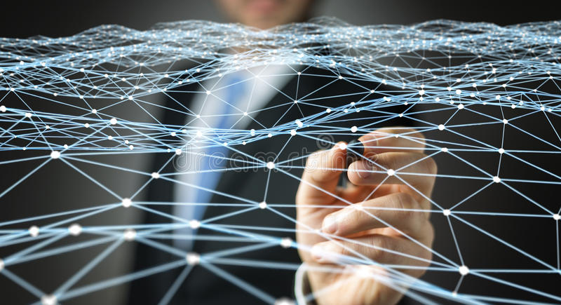 Dot flying network drawn by businessman 3D rendering. Dot flying network drawn by businessman on blurred background 3D rendering stock illustration