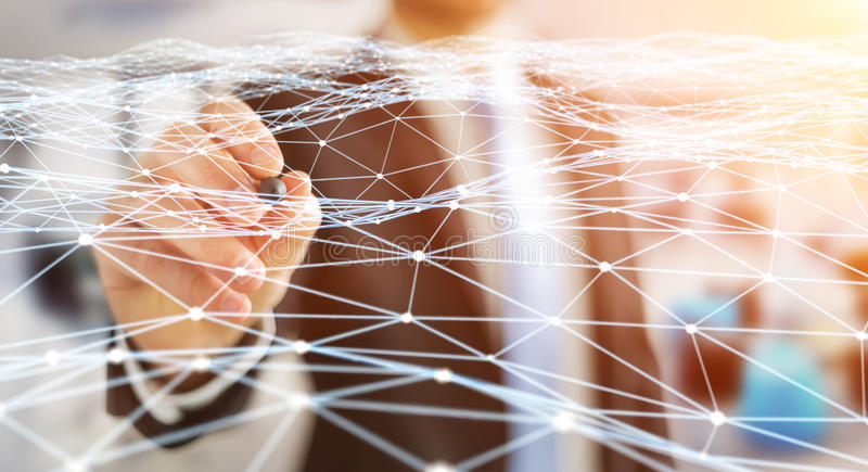 Dot flying network drawn by businessman 3D rendering. Dot flying network drawn by businessman on blurred background 3D rendering vector illustration