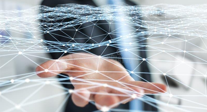 Dot flying network held by businessman 3D rendering. Dot flying network held by businessman on blurred background 3D rendering vector illustration