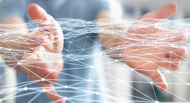 Dot flying network held by businessman 3D rendering. Dot flying network held by businessman on blurred background 3D rendering stock illustration